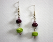 Handmade Lampworked Glass Beaded Sterling Earrings Purple & Green with Swarovski crystals