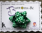 Green and White Polka Dot Package Hair bow French clip