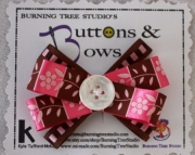 Pink and Brown Flower Bow with White Button Accent Hair Clip