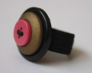 Ring, Black, Pink, Gold Texture Button Sizeable