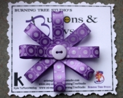 Purple & White Glitter Polka Dot Burst Bow Hair Clip