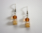 Handmade Lampworked Beaded Earrings Amber Drops
