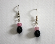 Handmade Lampworked Glass Beaded Sterling Earrings Cute Black and pink drops
