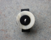 Ring, Black, and Natural Flecked Button, Sizeable