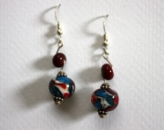 Handmade Lampworked Glass Beaded Sterling Earrings Red,White,Blue Swirl