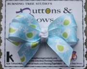 Blue Bird Double Stack Bow With White Knot Accent Hair Clip