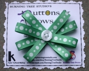 Light Green & White Glitter Polka Dot Burst Bow Hair Clip