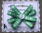 Light Green & White Glitter Polka Dot Burst Bow Hair Clip