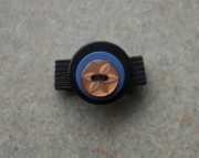 Ring, Light Peach Star Burst, Blue, and Black Buttons, Sizeable