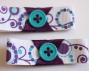 Purple & Teal Ribbon With Teal Button Accent Hair Clips Set