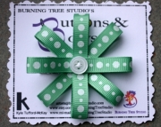 Green & White Glitter Polka Dot Burst Bow Hair Clip