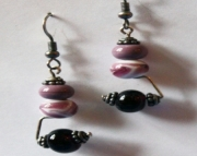 Handmade Lampworked Glass Beaded Sterling Earrings Purple, Dark Purple, White Swirl