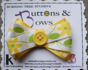 Yellow Flower Bow with Yellow Glitter Polka Dot and Yellow Button Accent Hair Clip