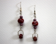 Handmade Lampworked Beaded Earrings Purple & Dark Burgundy Swirl Drops