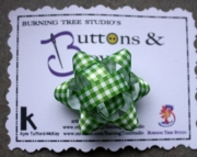 Green & White Checkered Package Hair bow French clip