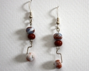Handmade Lampworked Beaded Earrings Blue Burgundy White Amber Dangles