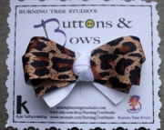 Leopard Print and White Accent Bow Hair Clip