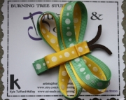 Double Wing Dragon Fly Green, Yellow and White Polka Dot Hair Clip