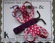 Double Wing Dragon Fly Purple and Pink with White Polka Dot Hair Clip