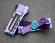 Purple Ribbon & Teal Button Crisscross Hair Clips
