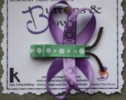 Dragon Fly Light Purple and Light Green WIth White Glitter Polka Dots Hair Clip