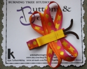 Dragon Fly Pink and Orange with Yellow Polka Dot Hair Clip