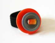 Orange & Periwinkle Button Ring with a Glass Bead, Sizeable