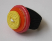 Ring, Tutti Frutti, Pink, Yellow Flower, Orange Button Sizeable