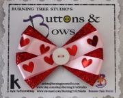 Pink and Red Heart Glitter Hair with White Button Accent Hair Clip