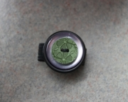 Ring, Green Flower, Purple and Black Buttons, Sizeable