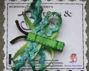 Double Wing Dragon Fly Green, Blue Glitter Wave Hair Clip