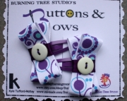 Purple and Teal WIth Yellow Button Bow Hair Clip Set