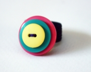 Yellow, Teal, Pink with Purple Thread Button Ring, Sizeable
