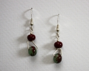 Handmade Lampworked Glass Beaded Sterling Earrings Burgundy & Green Swirl