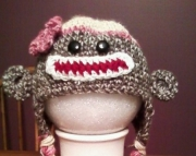 Sock Monkey Hat - 3-6 month - Girl