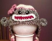 Sock Monkey Hat - 3-6 Month - Girl