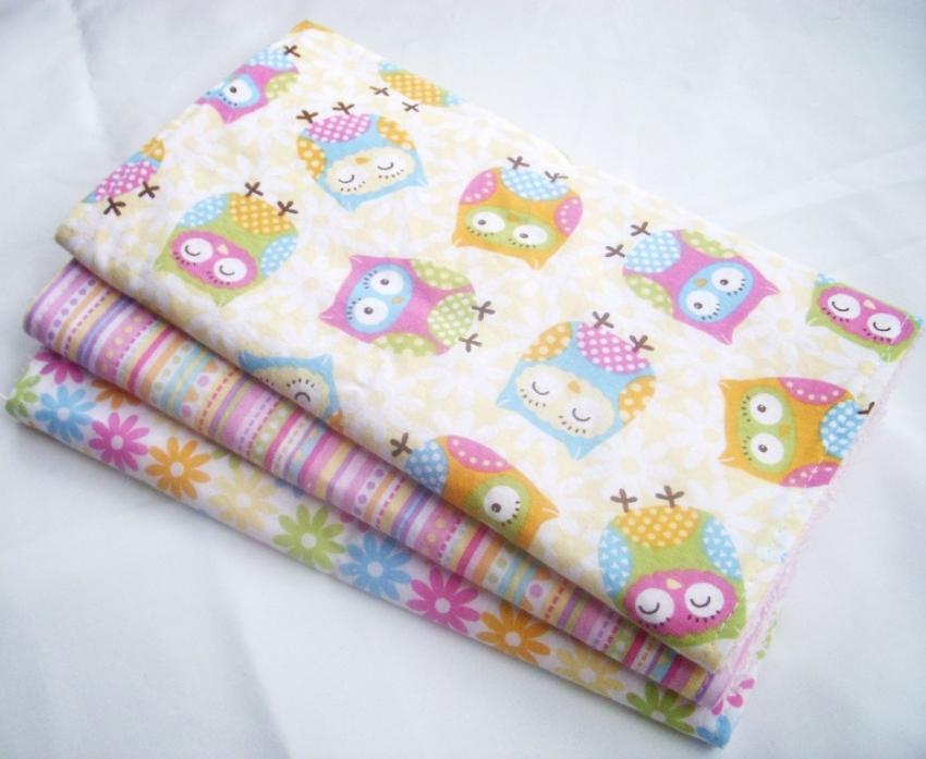 Baby Girl Burp Cloth Gift Set Sweet Owls Set of 3 Burp