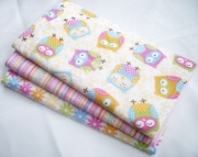 Baby Girl Burp Cloth Gift Set - Sweet Owls - Set of 3 Burp Pads