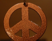 Peace sign key chain copper