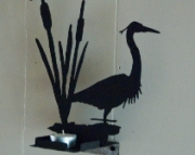 Heron Standing in Cat Tails Candle Holder