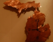 Michigan clock finished in copper patina
