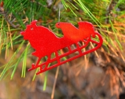 Santas sleigh ornament-metallic red